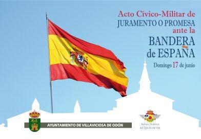 Villaviciosa de Odón celebrará el 17 de junio el primer acto cívico-militar de juramento o promesa ante la bandera de España